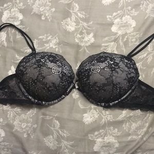 Black and lace with diamonds VS push up 34C